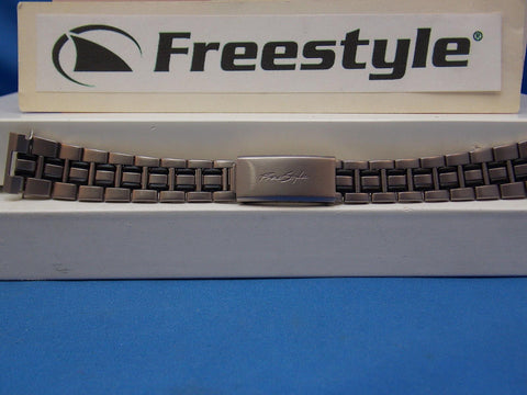 Freestyle watchband - Bracelet Matte Silver/Black 16mm w/FoldOver buckle