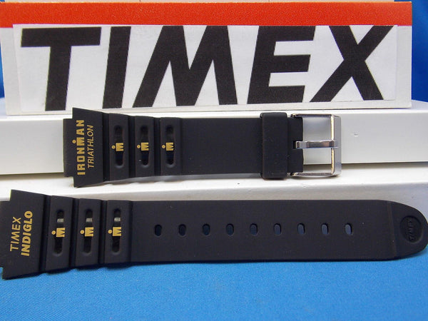 Timex watchband Triathalon Indiglo Timex Logo 18mm Black  w/Orange Gtaphic