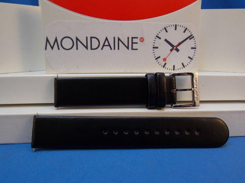 Mondaine Swiss Railways Watchband FE3118.20Q 18mm Black Leather w/Polished bkle