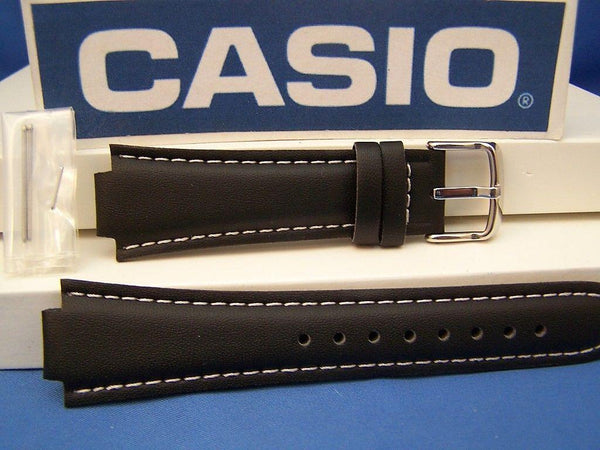 Casio watchband EF-501 L, EF-500 L Black Leather -  w/ Attach Pins