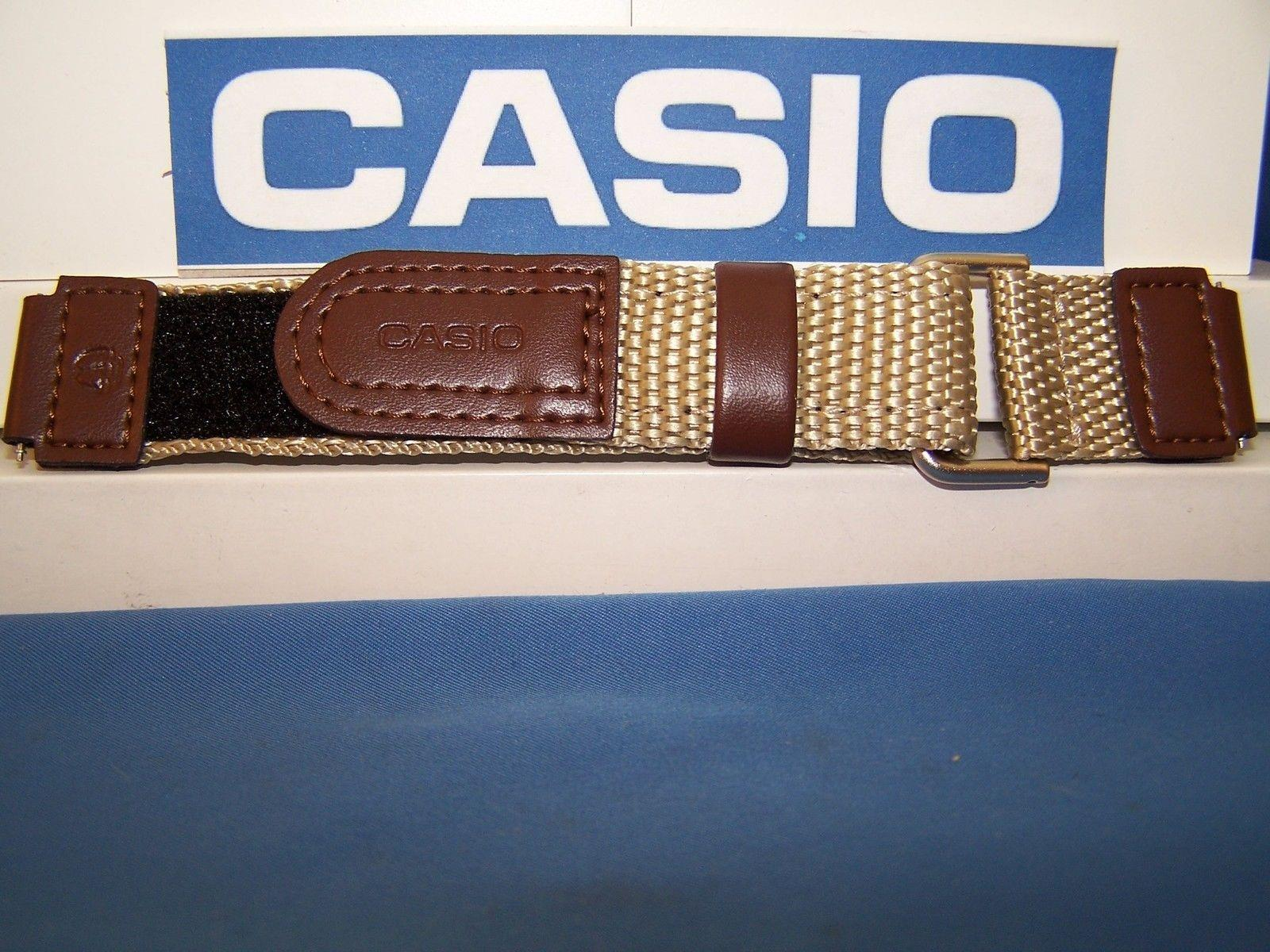 Casio watchband AW-80 V-5BW. NylonGrip Sport  Brown / Tan. With Pins