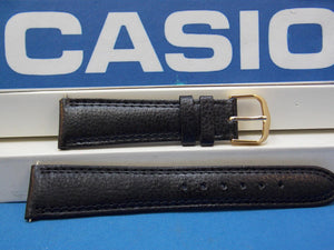 Casio watchband AB-20 Leather Black  19mm Padded Double Outline Stitched
