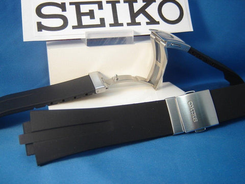 Seiko WatchBand SNA207 & SNL013 Black Resin  w/Push But Deployment buckle