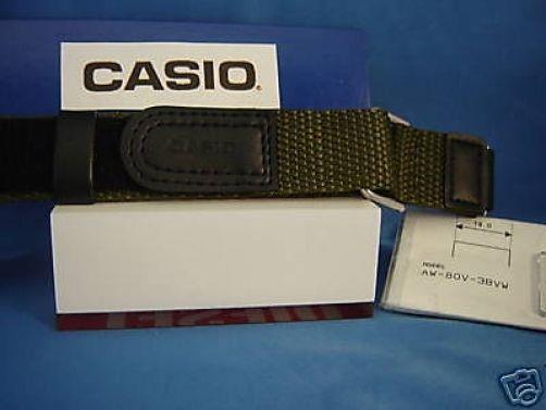 Casio watchband AW-80 V-3 Blk/Khaki Nylon Grip Sport  for 18mm Watches