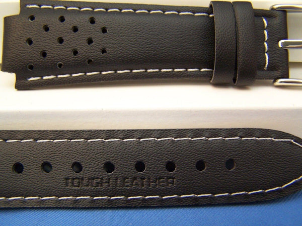 Casio watchband RL-300 L-2, Ef-307. Red Line Black Leather Watchband -w/Pins