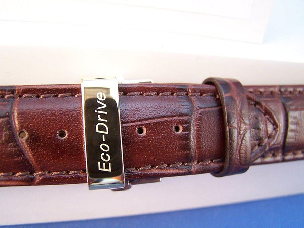 Citizen watchband BL8000-08 ECO Drive Brown Curved End Leather.Gold Tone Buckle