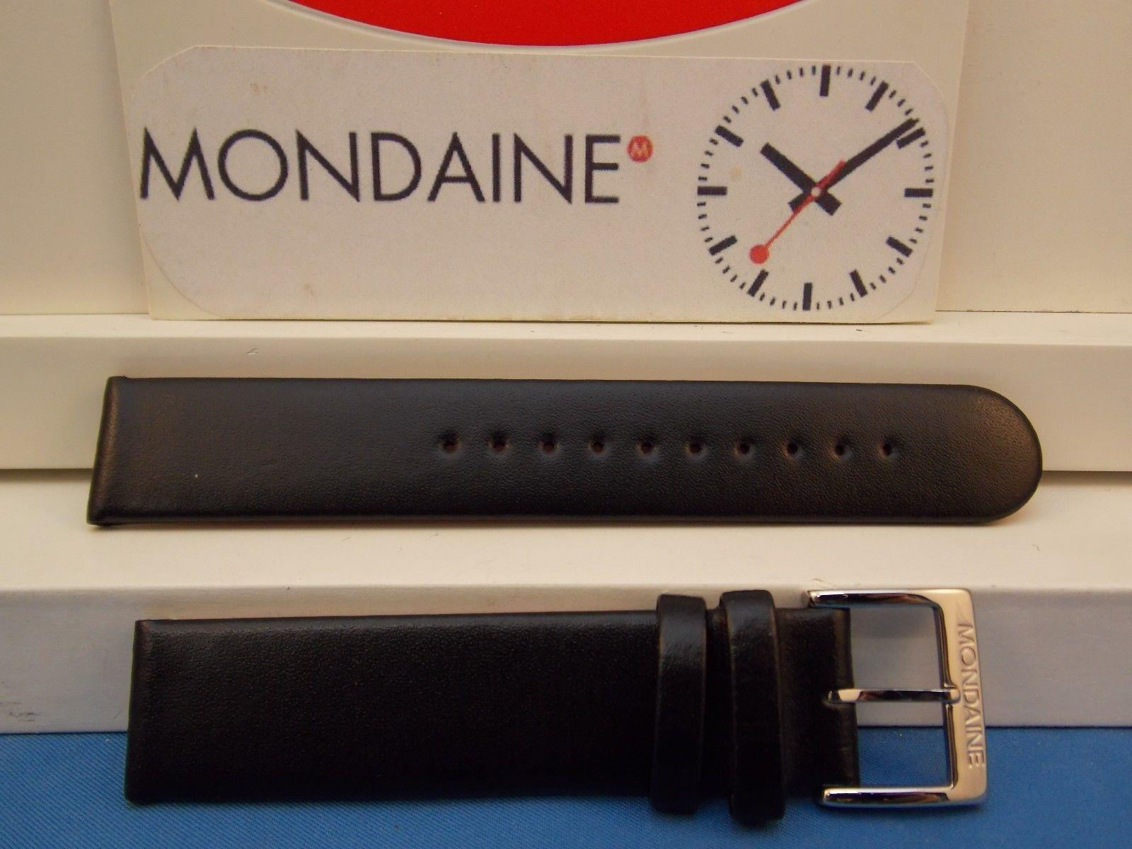 Mondaine Swiss Railways watchband FE3118.22Q 18mm Black Leather  Red Back