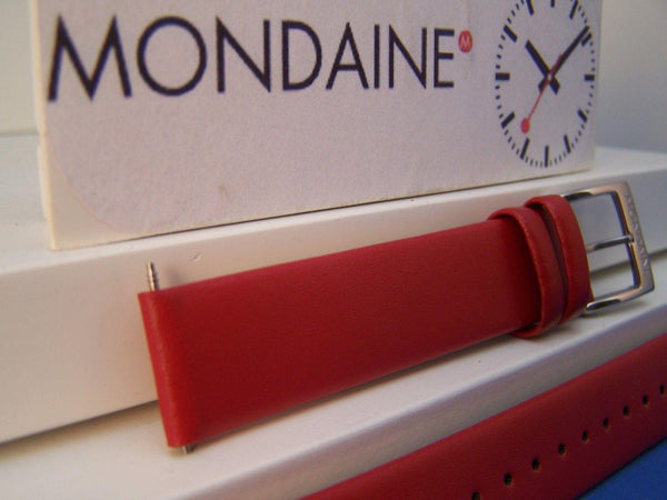Mondaine Watchband Original 16mm Red Leather  w/ Logo buckle and Pins.
