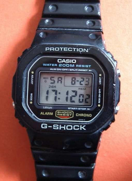 Casio Watch Band DW-5600 C.Original / New G-Shock Black Rubber Strap. Circa 1987