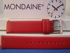 Mondaine watchband Original 18mm Red Mns Leather  w/ Logo buckle and Pins