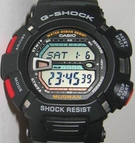 Casio Watch Parts G-9000 -1 Mudman Bezel/Shell Black w/Red Buttons white Letters