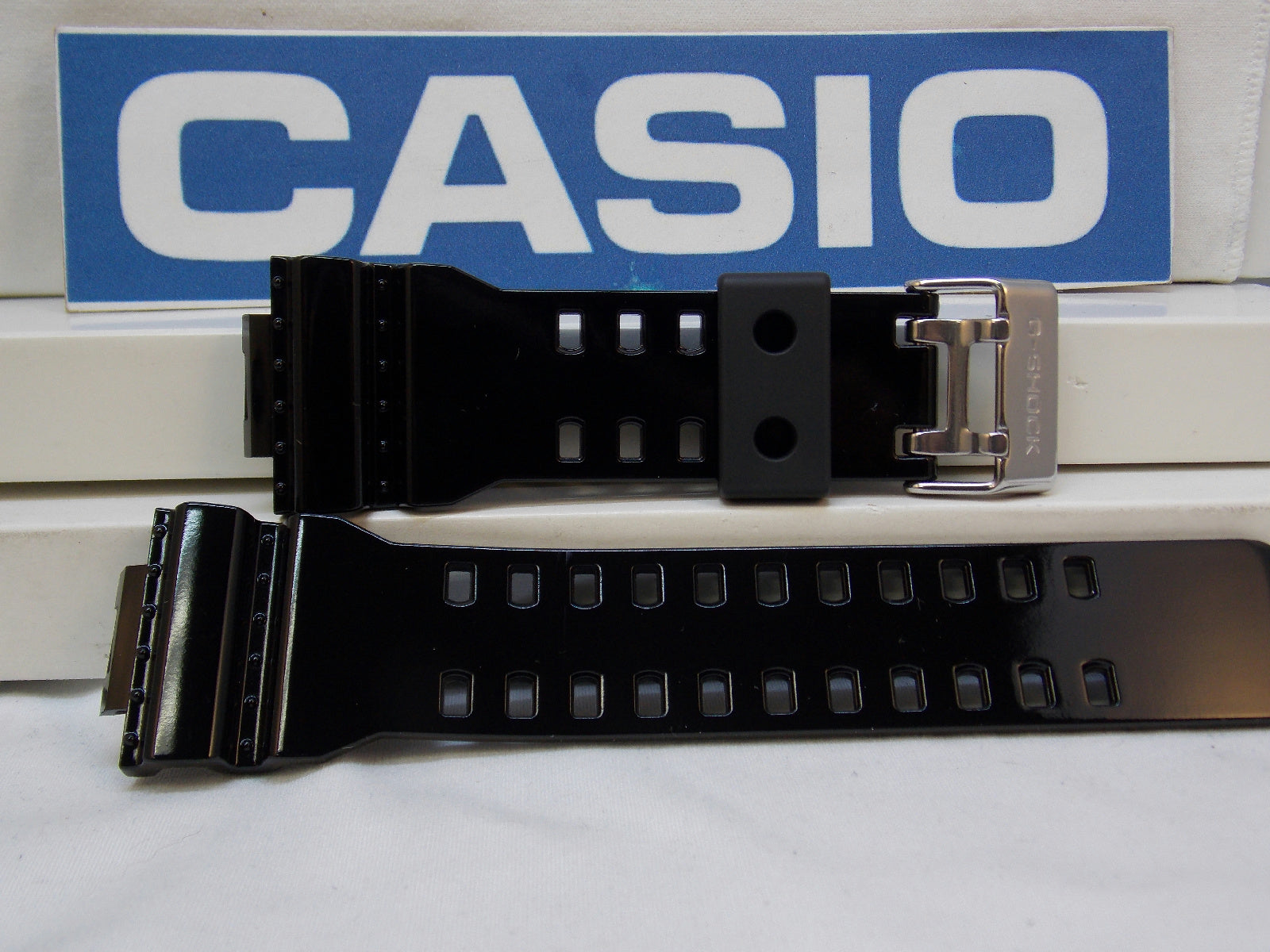Casio watchband GA-100, GA-110, GA-120, GD-100 black Shiny Resin /Watchband