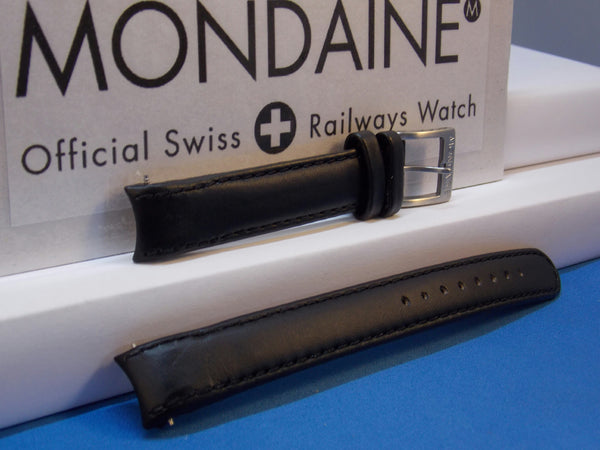Mondaine Swiss Railways watchband 14mm Extra Long Curved end Leather