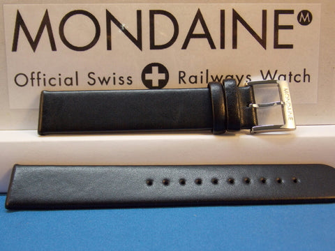 Mondaine Swiss Railways Watch Band 18mm Extra Long Black Leather Strap