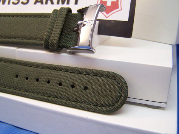 Swiss Army watchband Infantry Military Green 22mm Fabric Mesh / Leather w/Pins