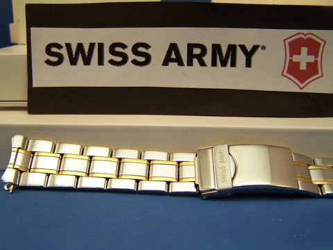 Swiss Army Watchband Mod 20093 Officers Men's Bracelet Two Tone 19mm curved end