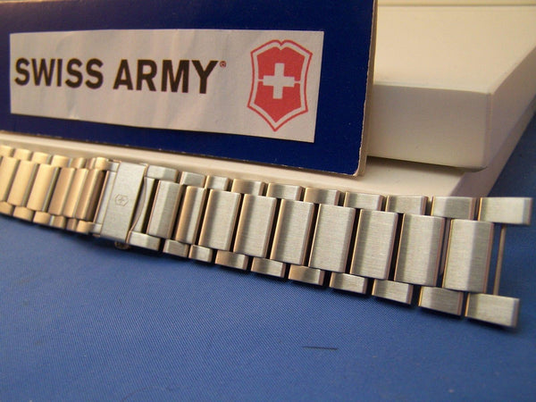 Swiss Army watchband Convoy Bracelet Steel w/Push Button Butterfly Clasp & Pins