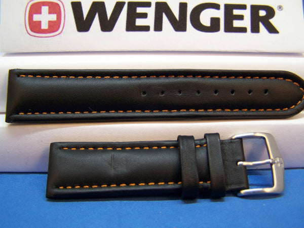Wenger Watchband 70843 Black 21mm Padded Outline Red Stitched Strap