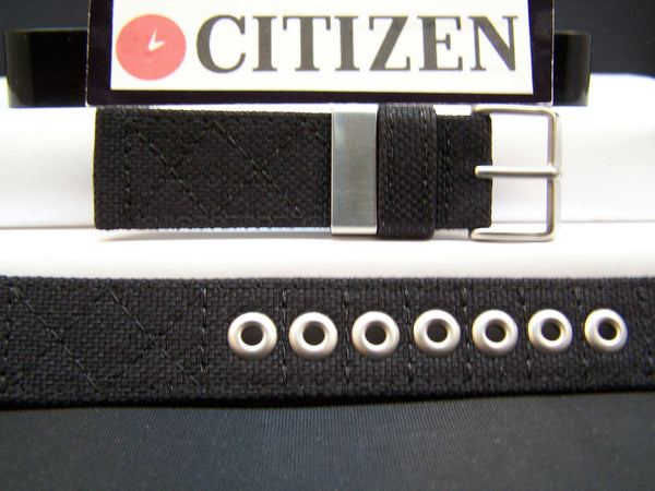 Citizen Watchband BM6400 21mm Black Thick Stitched Fabric With Metal Eyelets