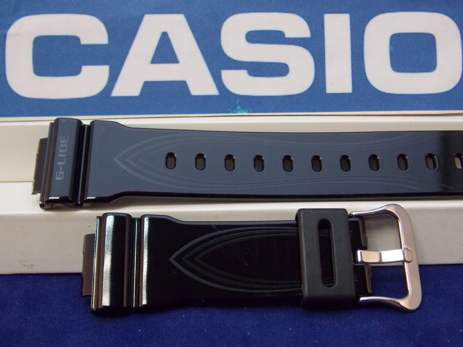 Casio watchband GLX-5600 G-Lide Shiny Black Resin w/Graphics. . Watchband