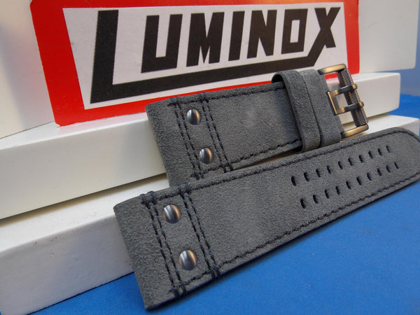 Luminox Watchband Series 1880/1890 Dk Gray Leather w/Gun Metal Buckle,26mm