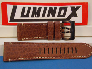 Luminox Watchband Series 1860 Dark Brown Buffalo Leather w/White Stitching 26mm
