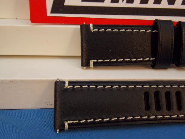 Luminox WatchBand Series 1800,Black Leather w/White Stitch For Model 1809, 23mm