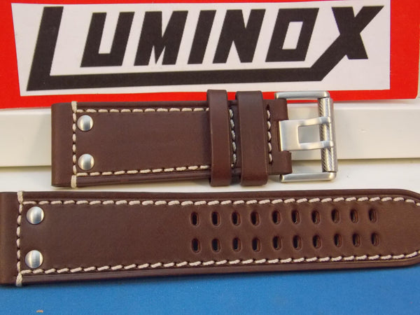 Luminox WatchBand 1880 Series Brown Leather Steel Buckle w/White Stitching.