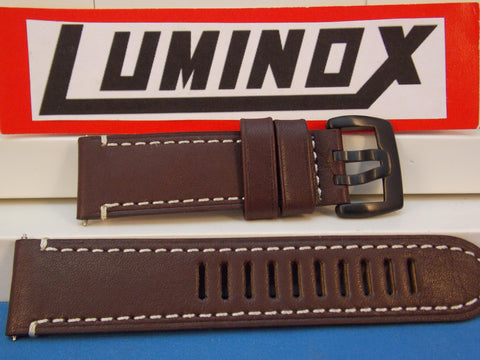 Luminox Watchband Series 1800, Dark Brown w/Wht Stitch Model 1807, 23mm