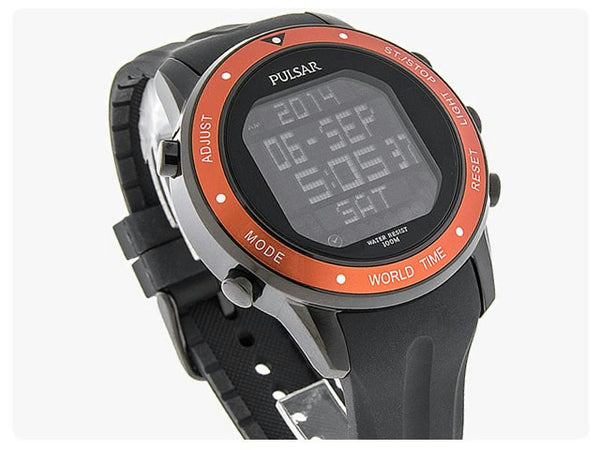 Pulsar watchband PQ2017 PQ2021 Black Resin Curved End Sport . Watchband
