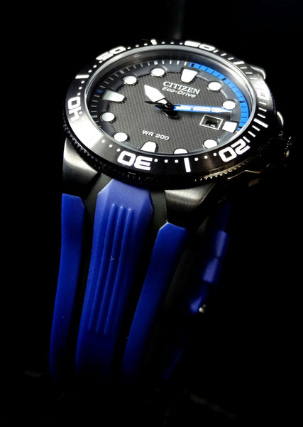 Citizen watchband BN0097 -02H Blue/Black Rub  Eco Drive WR-200 Watchband