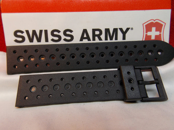 Swiss Army Watchband Renegade Black Rubber Sport Band Mns 19mm Swiss Made Strap
