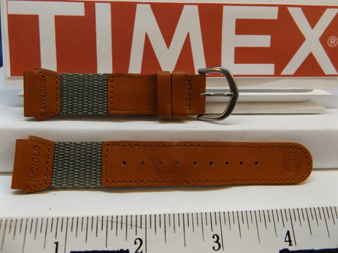 Timex watchband 19mm Gray/Brn Leather/Nylon Indiglo Expedition . Watchband