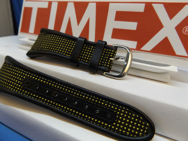 Timex watchband iControl Expedition T47161 Black Yellow Leather Nylon
