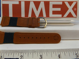 Timex watchband 19mm Brn/Teal Leather/Nylon Indiglo Expedition .Watchband