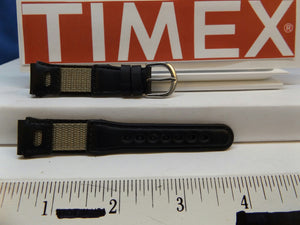 Timex watchband 16mm Blk/Gray Leather/Nylon Ladies . Watchband