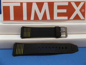 Timex watchband 19mm Black:Yellow Stripes Mans Resin Sport . Watchband