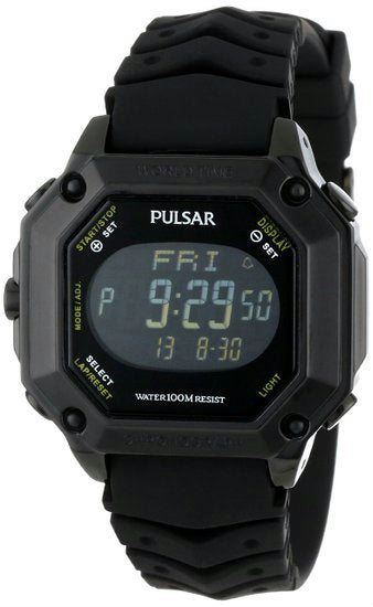 Pulsar watchband PW3003 20mm Black Resin Divers Style . Watchband.