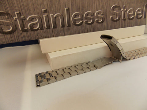 Steel Watchband/Bracelet 22mm Heavy Solid Linked w/Push Button Buckle.