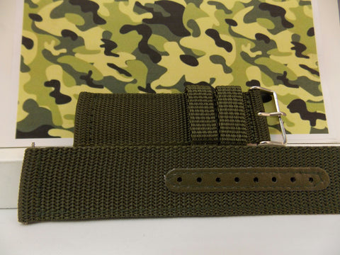 Military Green 22mm Wide Nylon Stitch Reinforced  w/Pins.Washable Watchband