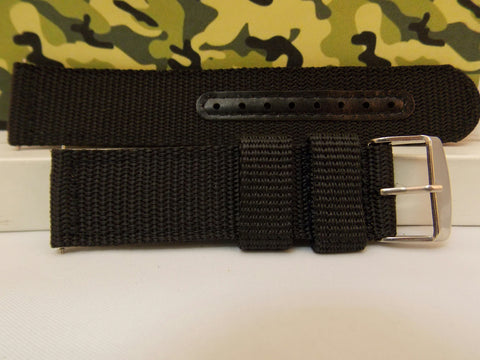 Military Black 20mm Wide Nylon Stitch Reinforced  w/Pins.Washable Watchband