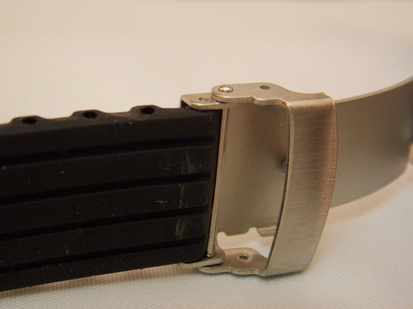 Sportband 24mm Black Silicone Resin.Deployment Push Button Buckle W/Spring Bars