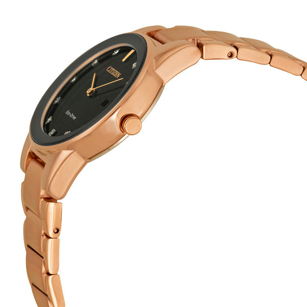 Citizen Axiom Unisex Rose/Pink Gold Bracelet w/Diamond Dial and Date. 50% Off