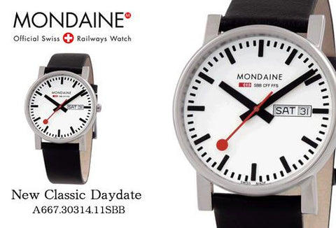 Mondaine Swiss Railways Watch A667.30314.11SBB Classic Day/Date.New/Box/Warranty