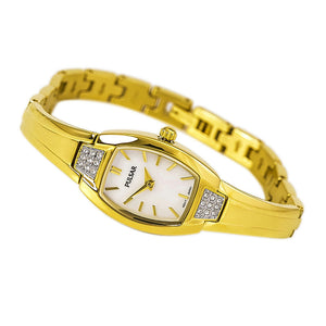 Pulsar PTA506 Ladies Dress Gold Tone Watch w/Faux Diamond Accents. 50% Off MSRP