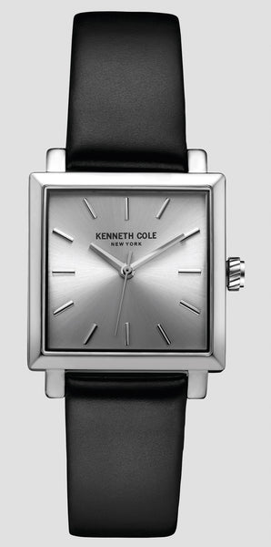 Kenneth Cole 10030821 Men's Silver-Tone and Black Square Dial Watch