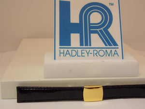 Hadley Roma Watchband 12mm Lds Blk Genuine Lizard w/Butterfly Gold ToneBuckle.
