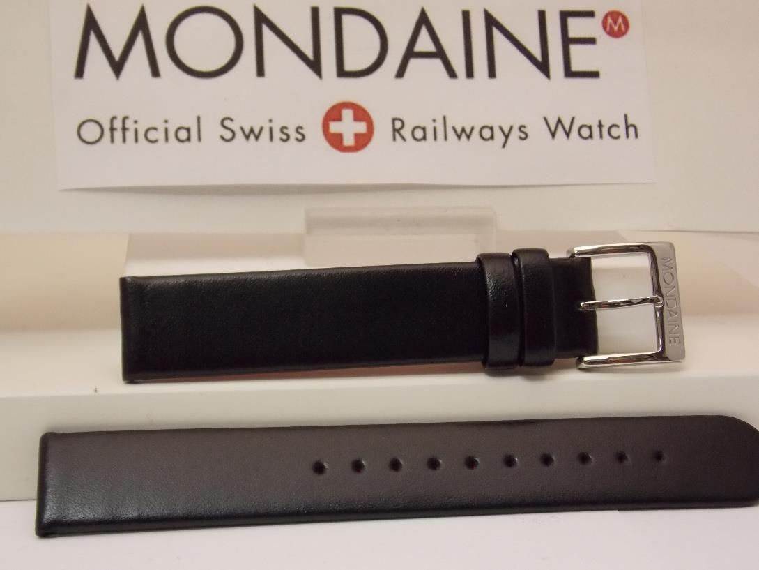 Mondaine Swiss Railways watchband FE3116.21Q 16mm Black Leather  Red Back