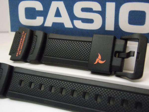 Casio watchband SGW-450 H-2B Black Resin  w/Orange.For Altimeter Barometer
