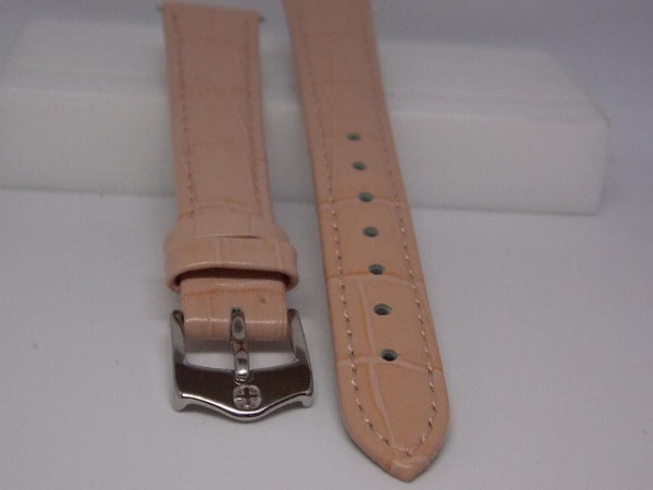 Wenger watchband 14mm Pink Ladies Leather  w/Spring Bars. Logo Buckle